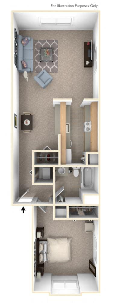 One Bedroom One Bath Floorplan at Hampton Lakes Apartments, Walker, Michigan