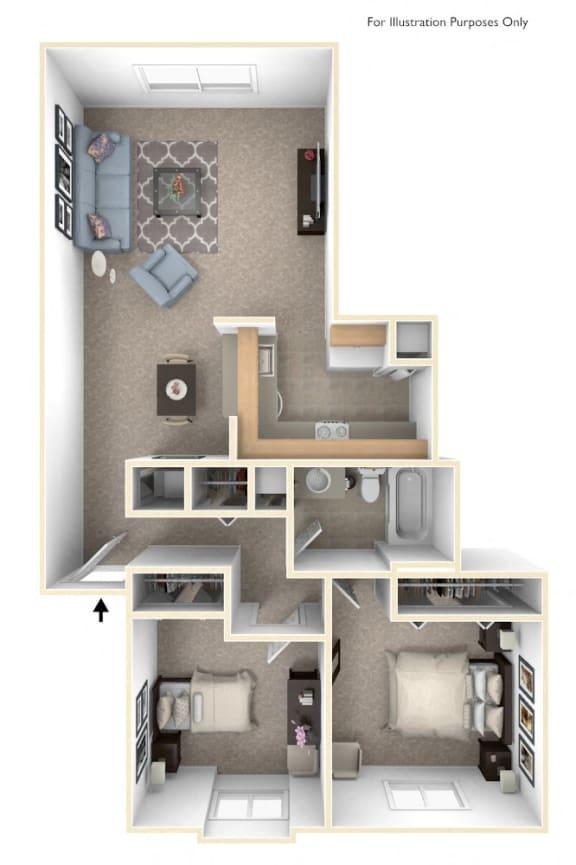 Two Bedroom One Bath Floorplan at Hampton Lakes Apartments, Walker
