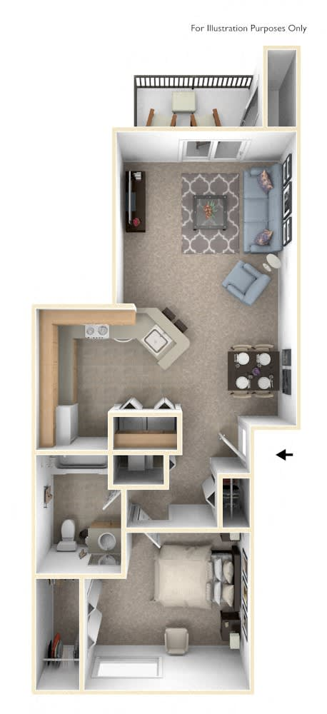 One Bedroom One Bath Floorplan at Heatherwood Apartments, Michigan