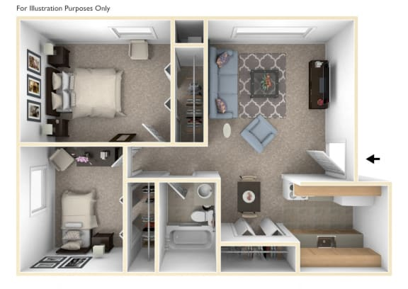 Two Bedroom One Bath Floorplan at Hickory Village Apartments, Indiana, 46545