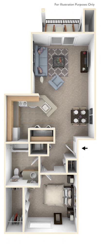 Traditional One Bedroom Floor Plan at The Highlands Apartments, Elkhart, Indiana