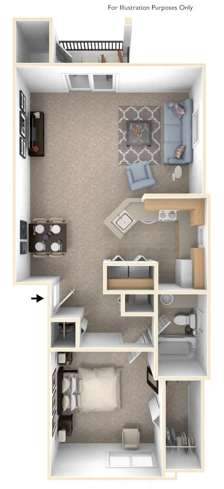 One Bedroom One Bath End Floorplan at Hunters Pond Apartment Homes, Champaign, Illinois