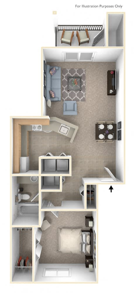 One Bedroom One Bath Floorplan at Hurwich Farms Apartments, South Bend