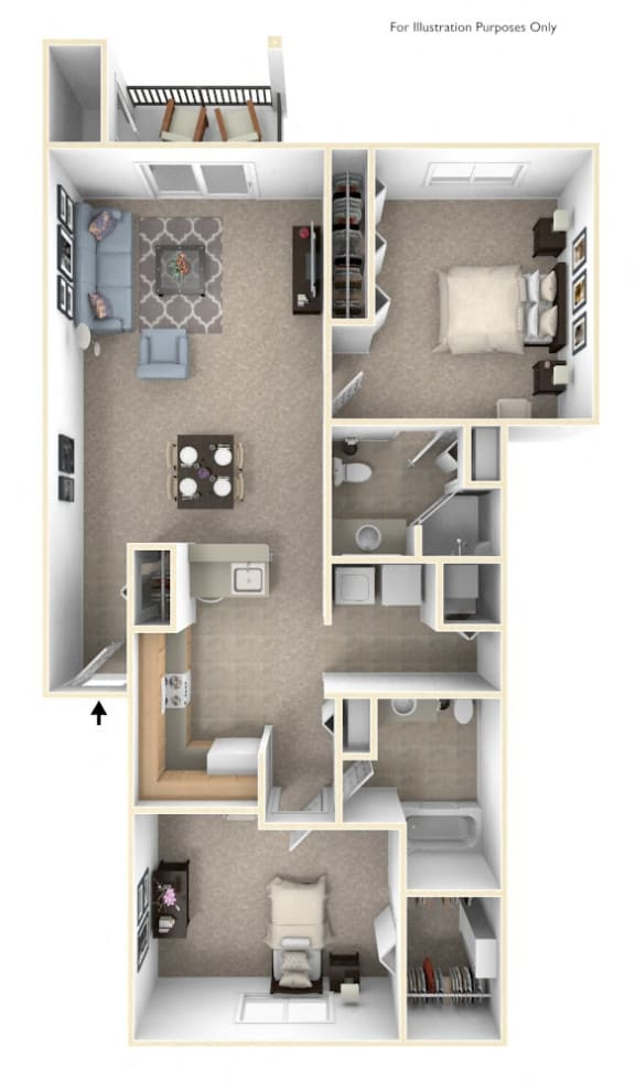 Two Bedroom Two Bath Floorplan at Hurwich Farms Apartments, Indiana