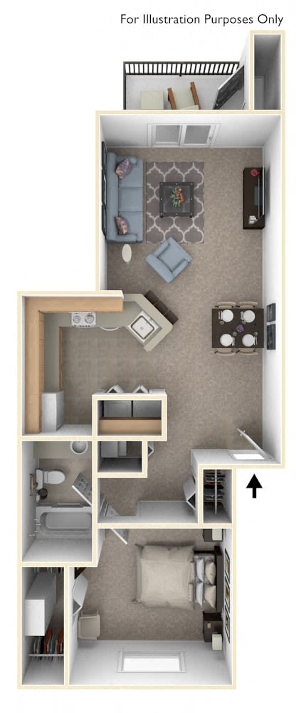One Bedroom Modified Floor Plan at Indian Lakes Apartments, Indiana