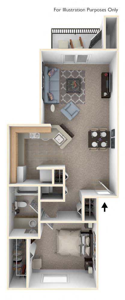 One Bedroom, One Bath Floor Plan at Indian Lakes Apartments, Mishawaka