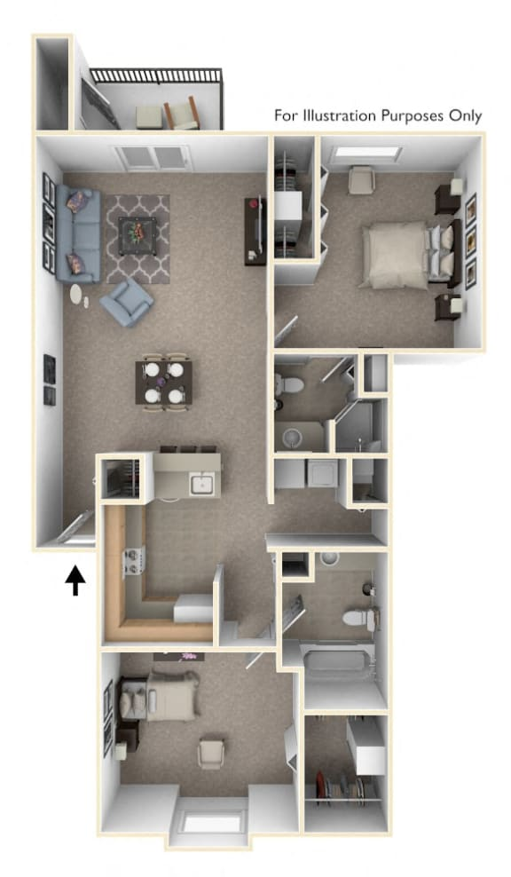 Two Bedroom, Two Bath Floor Plan at Indian Lakes Apartments, Mishawaka, IN, 46545