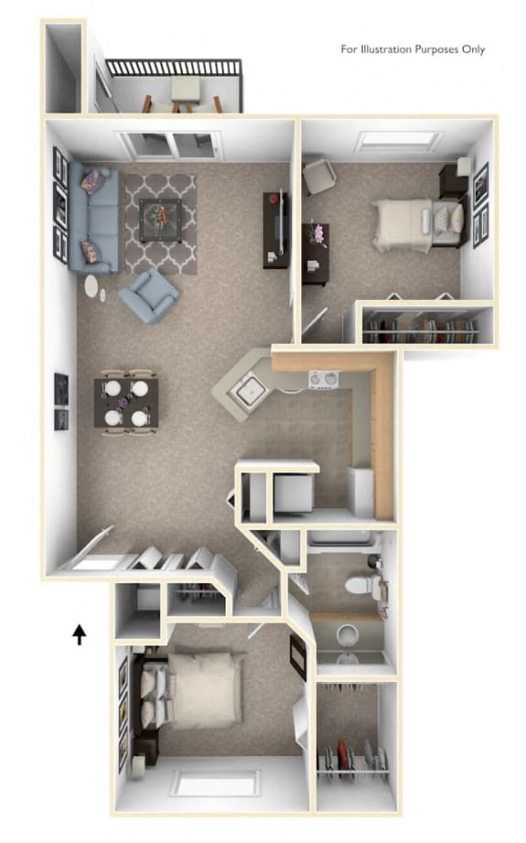 Front-to-Back Two Bedroom Floor Plan at Irish Hills Apartments, South Bend, 46614