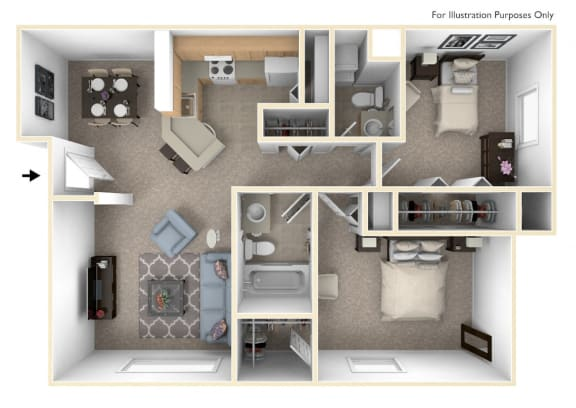 Seville Two Bedroom Floor Plan at Irish Hills Apartments, South Bend, IN, 46614