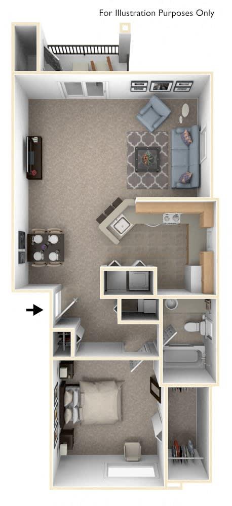 One Bedroom End Floor Plan at Limestone Creek Apartment Homes, Alabama