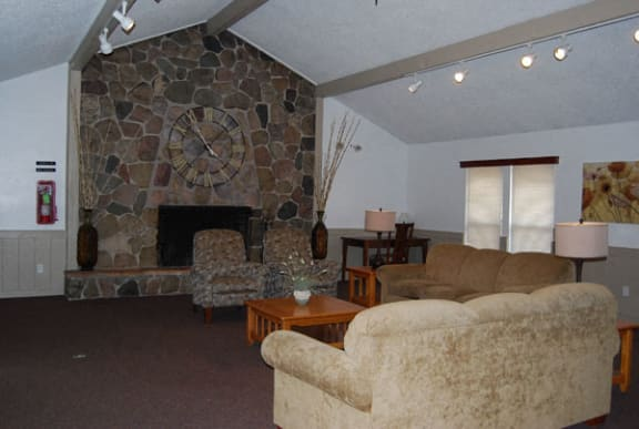 Clubhouse With Fireplace at Seville Apartments in Kalamazoo, MI