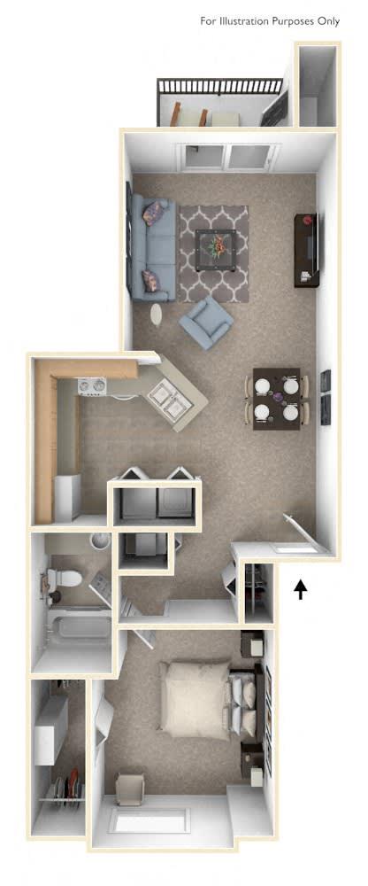 1 Bed 1 Bath One Bedroom Floor Plan at Oak Shores Apartments, Oak Creek