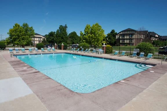 Large Outdoor Swimming Pool with Sundeck at Old Monterey Apartments, Springfield, MO