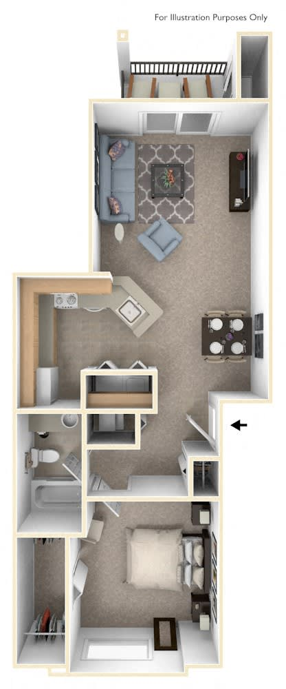 1 Bed 1 Bath One Bedroom Floor Plan at Orchard Lakes Apartments, Toledo, 43615