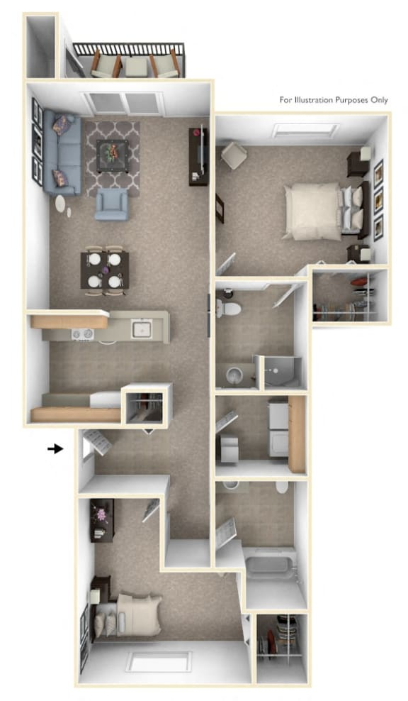 2 Bed 1 Bath Two Bedroom Floor Plan at Orchard Lakes Apartments, Toledo, Ohio