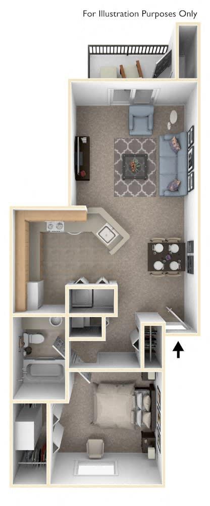 1 Bed 1 Bath One Bedroom Floor Plan at Pine Knoll Apartments, Battle Creek