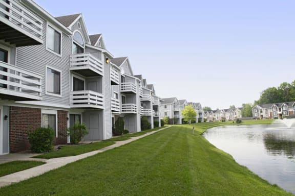 Balcony or Patio with Private Storage at South Bridge Apartments in Fort Wayne, IN