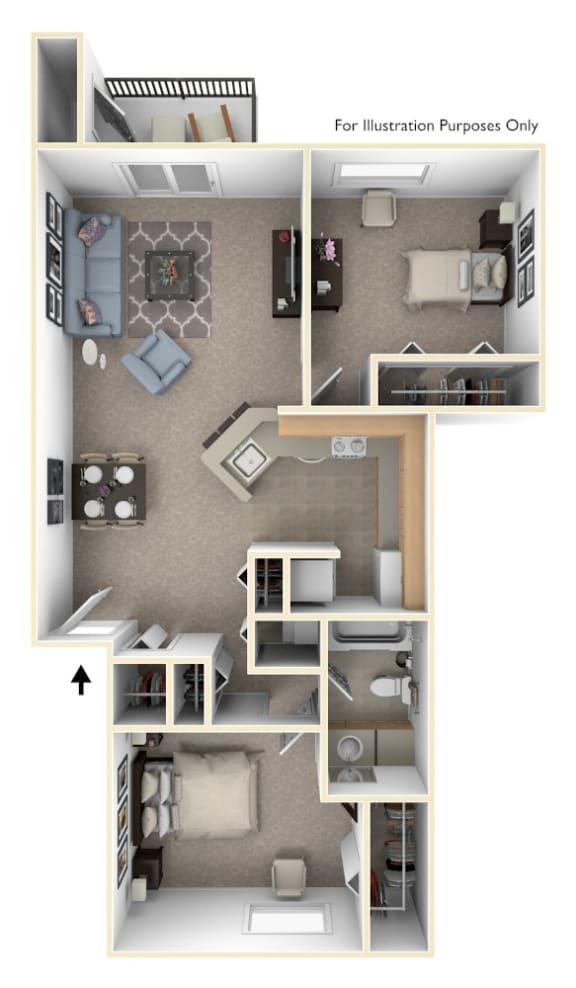 Floor Plan  2 Bed 1 Bath Two Bedroom, One Bath Stackable Floor Plan at South Bridge Apartments, Fort Wayne, IN