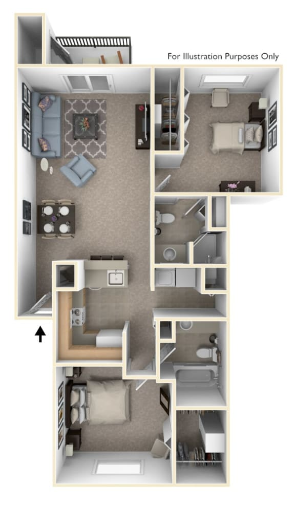 2 Bed 2 Bath Two Bedroom, Two Bath Full-size Floor Plan at South Bridge Apartments, Fort Wayne, Indiana