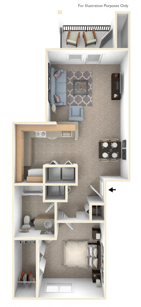 One Bedroom Floor Plan at Stoney Pointe Apartment Homes, Wichita