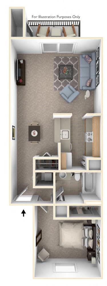 1 Bed 1 Bath One Bedroom Walk-Through Floor Plan at Swiss Valley Apartments, Michigan, 49509