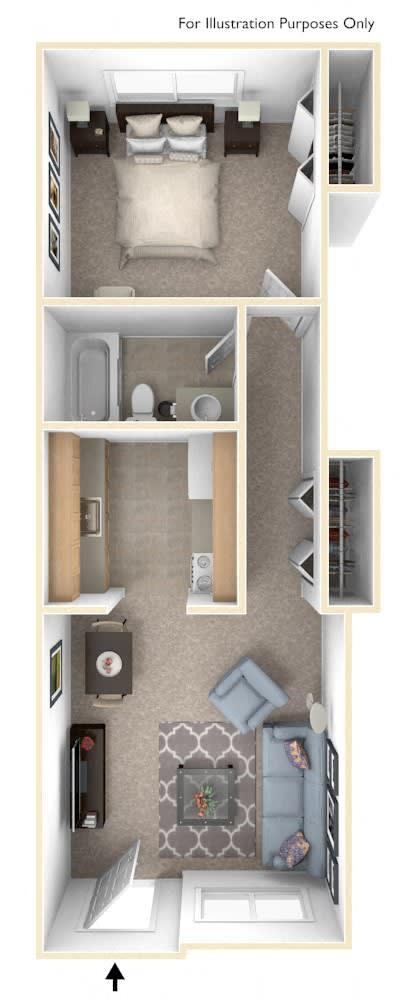 One Bedroom One Bath Floor Plan at Newport Village Apartments, Portage, MI, 49002