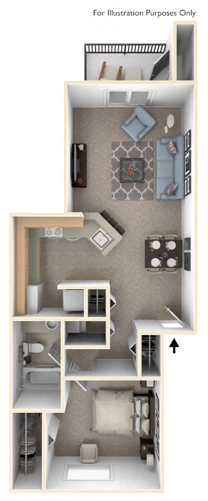 One Bedroom, One Bath Floor Plan at Windmill Lakes Apartments, Holland, Michigan