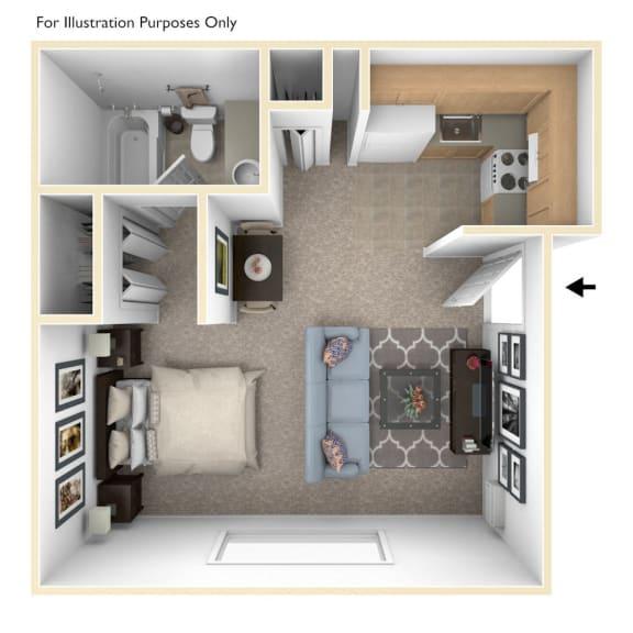 Studio Floor Plan at Wingate Apartments, Michigan