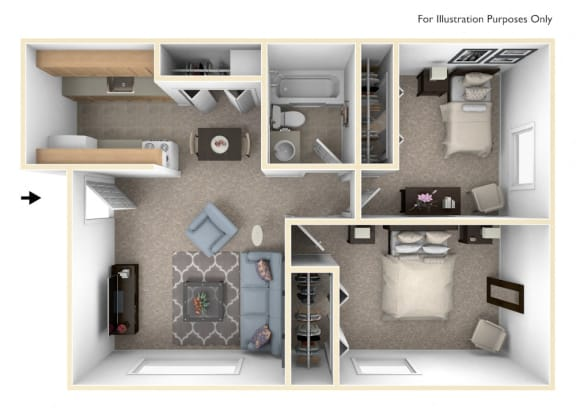 Two Bedroom - Standard Floor Plan at Wood Creek Apartments, Wisconsin