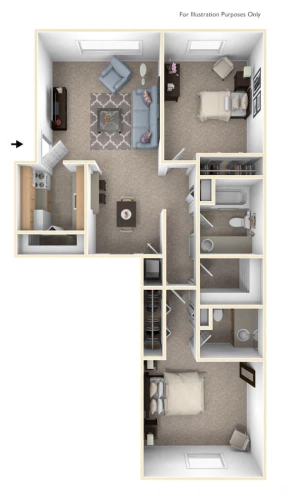 Two Bedroom - Two Bathroom Floor Plan at Wood Creek Apartments, Wisconsin, 53144