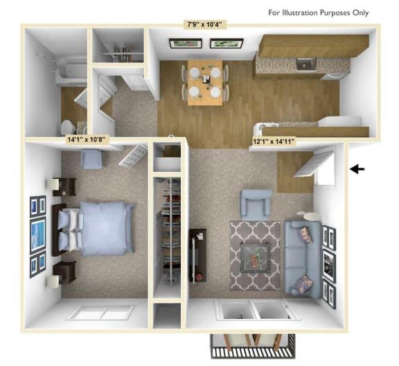 Acorn 1 Bedroom Floor Plan at Charter Oaks Apartments, Davison, MI