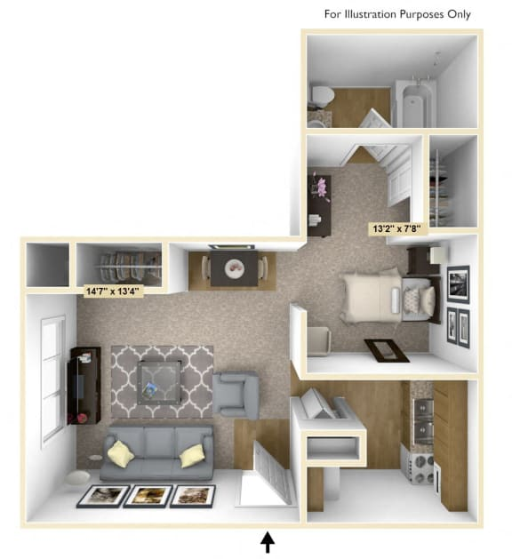Chestnut Oak Studio Floor Plan at Charter Oaks Apartments, Davison