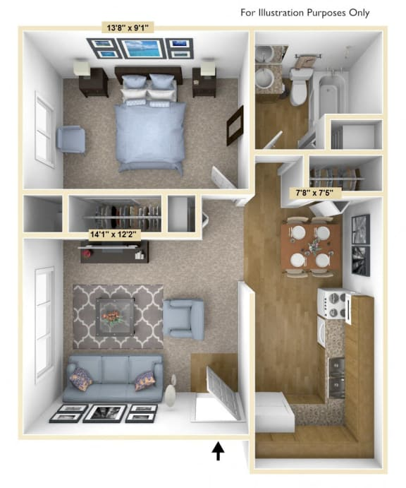 Barrier Free 1 Bedroom Floor Plan at Charter Oaks Apartments, Davison, 48423