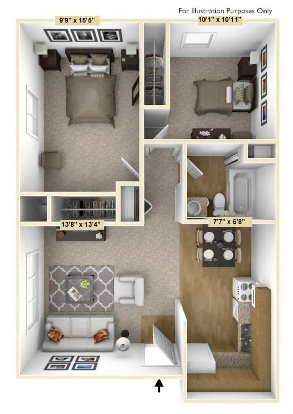 Barrier Free 2 Bedroom Floor Plan at Charter Oaks Apartments, Davison, Michigan