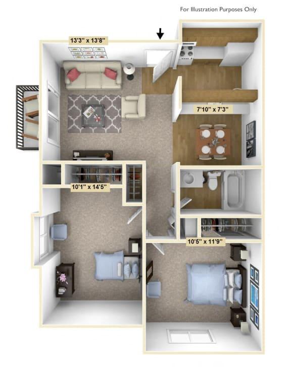 Floor Plan  Downey Oak 2 Bedroom Floor Plan at Charter Oaks Apartments, Michigan, 48423