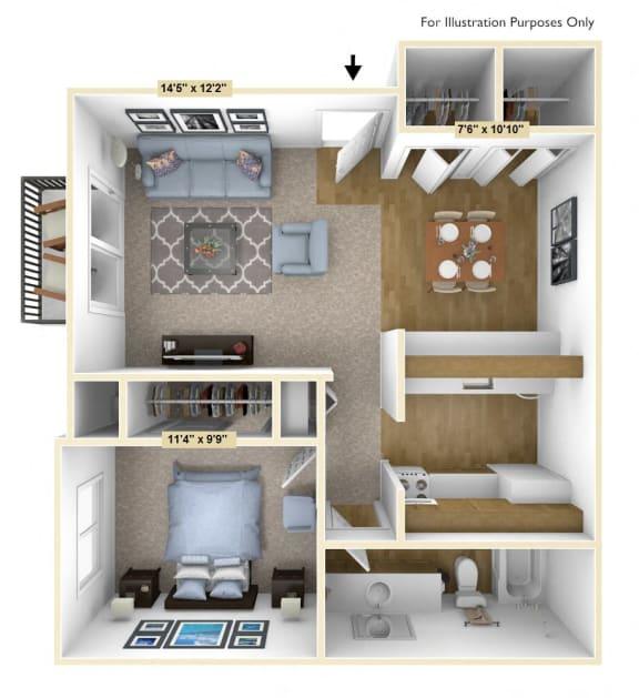 Floor Plan  English Oak 1 Bedroom Floor Plan at Charter Oaks Apartments, Davison, MI, 48423