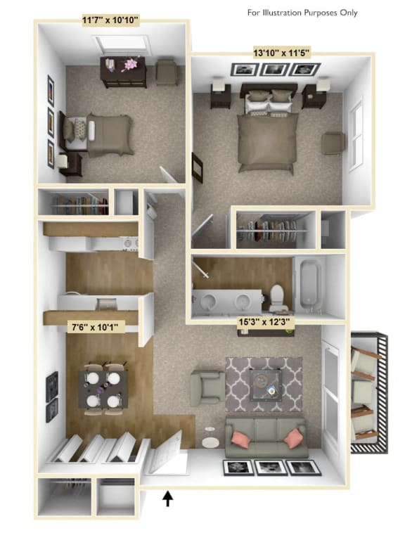English Oak 2 Bedroom Floor Plan at Charter Oaks Apartments, Davison, MI