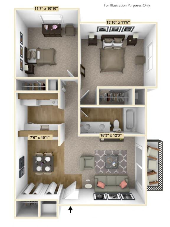 Floor Plan  English Oak 2 Bedroom Floor Plan at Charter Oaks Apartments, Davison, MI