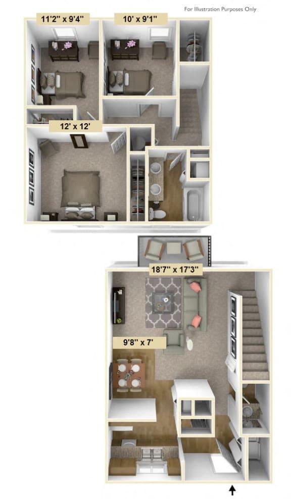 Three Bedroom Rose Floor Plan at Shannon Manor Townhouses, Davison, MI, 48423