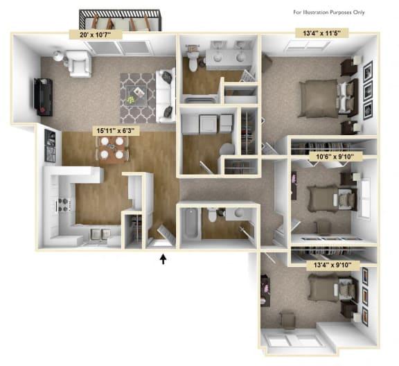 Floor Plan  Three Bedroom Birchwood Deluxe Floor Plan at Tanglewood Apartments, Oak Creek