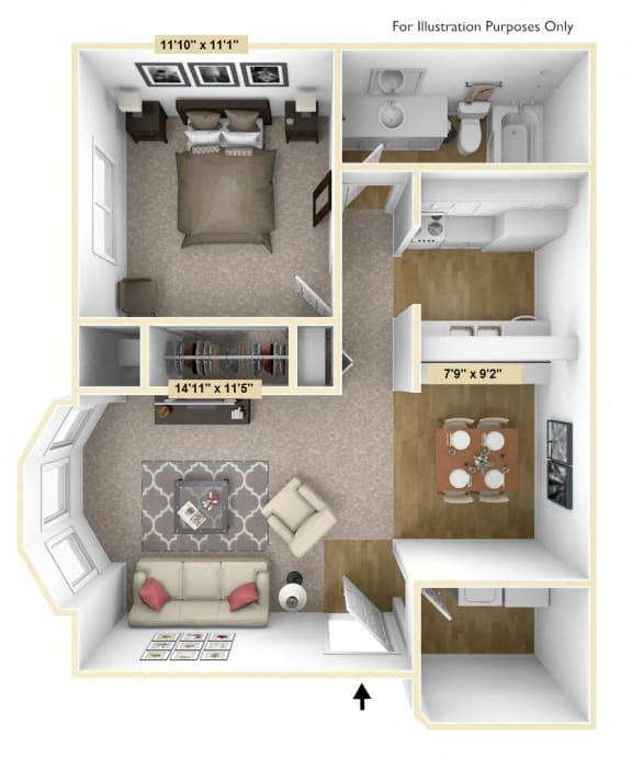 Floor Plan  One Bedroom Mulberry Floor Plan at Tanglewood Apartments, Oak Creek, WI