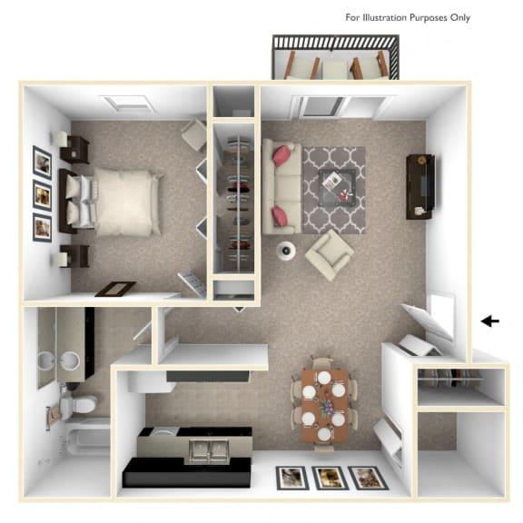 1-Bed/1-Bath, Magnolia Floor Plan at Cordoba Apartments, Michigan