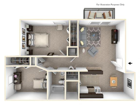 2-Bed/1-Bath, Iris Floor Plan at Eastgate Woods Apartments, Ohio, 45103