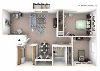 2-Bed/1-Bath, Marigold Deluxe Floor Plan at Eastgate Woods Apartments, Batavia, 45103