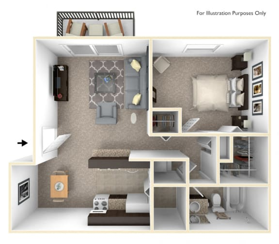 1-Bed/1-Bath, Orchid Floor Plan at Eastgate Woods Apartments, Batavia, 45103