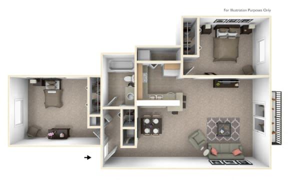 2-Bed/1-Bath, Sunflower Floor Plan at Hillside Apartments, Wixom, Michigan