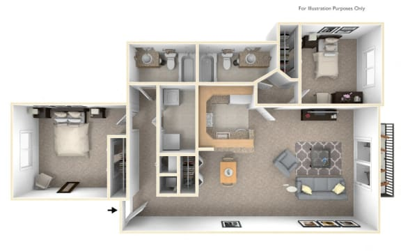 2-Bed/2-Bath, Bouvardia Floor Plan at LakePointe Apartments, Batavia, OH