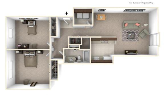 2-Bed/1-Bath, Tulip Floor Plan at LakePointe Apartments, Ohio