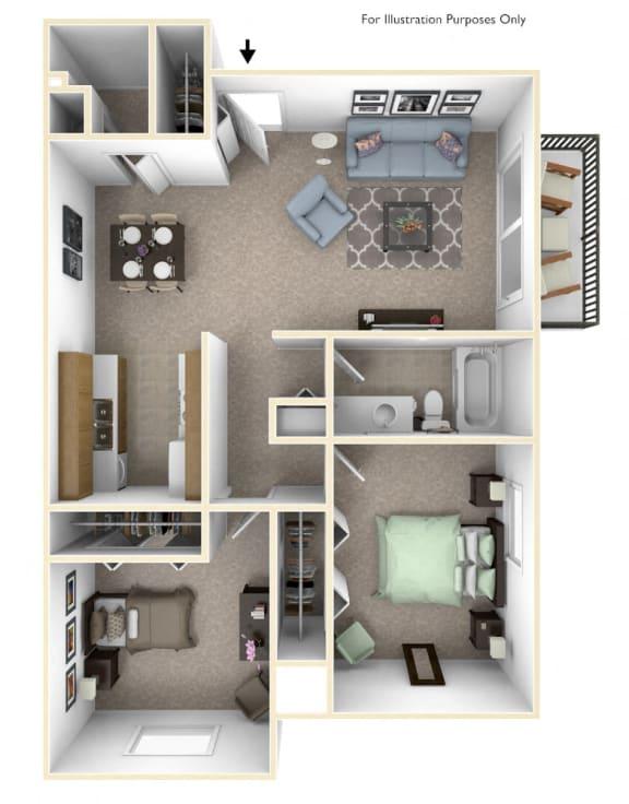 2-Bed/1-Bath, Dahlia Floor Plan at Laurel Woods Apartments, South Carolina, 29607