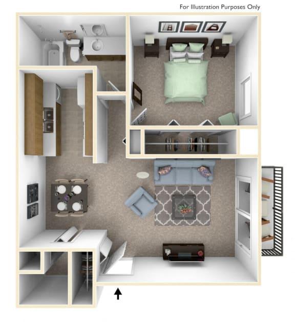 1-Bed/1-Bath, Magnolia Floor Plan at Laurel Woods Apartments, South Carolina